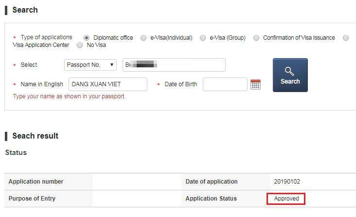 kiểm tra kết quả xin visa
