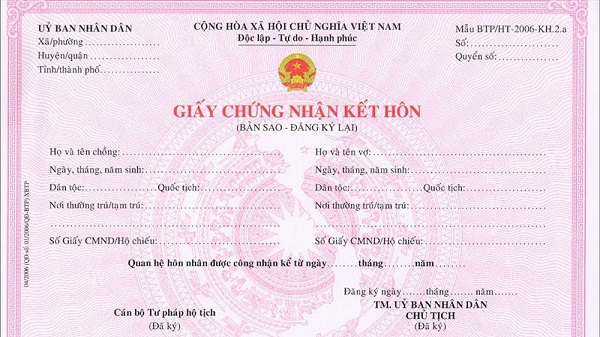Mất giấy đăng ký kết hôn