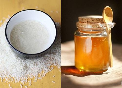 làm đẹp nước vo gạo mật ong